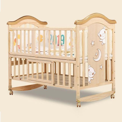 Solid Wood Baby Crib Cot with FREE Mattress - Natural - Model 716