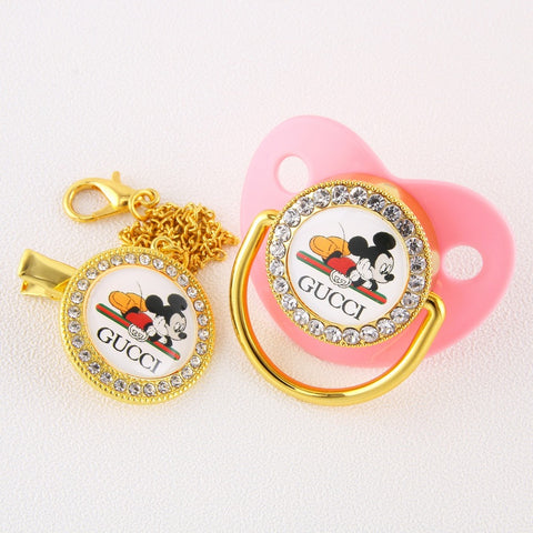 Baby Bling Dummy Pacifier - Gucci Pink