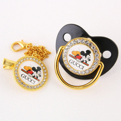 Baby Bling Dummy Pacifier - Gucci Black