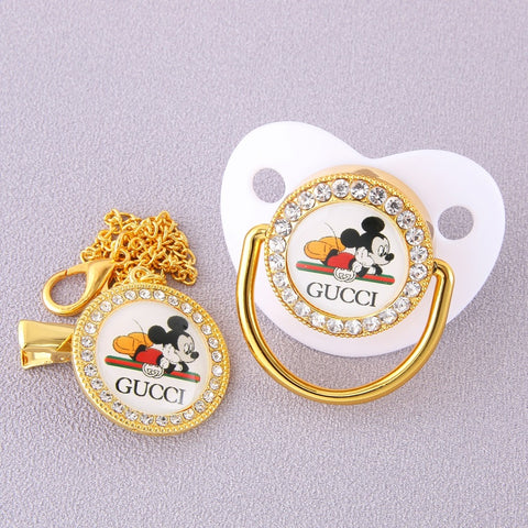 Baby Bling Dummy Pacifier - Gucci White