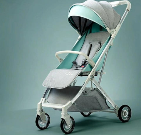 4 Wheel Cyne Ultra-Light Foldable Baby Stroller - Grey/Mint Green