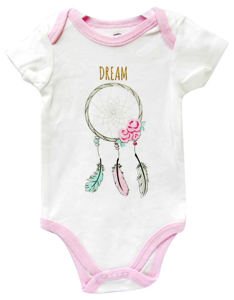 Babies Short Sleeve Rompers - Girls Dream Pink