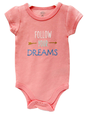 Babies Short Sleeve Rompers - Girls Follow Your Dreams