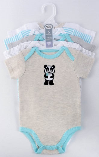Babies Short Sleeve Rompers (0-3 months) - 5pc Set -Blue