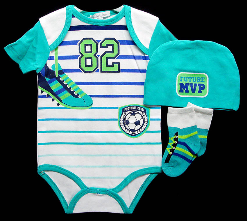 Babies 3pc Romper Sets - Soccer