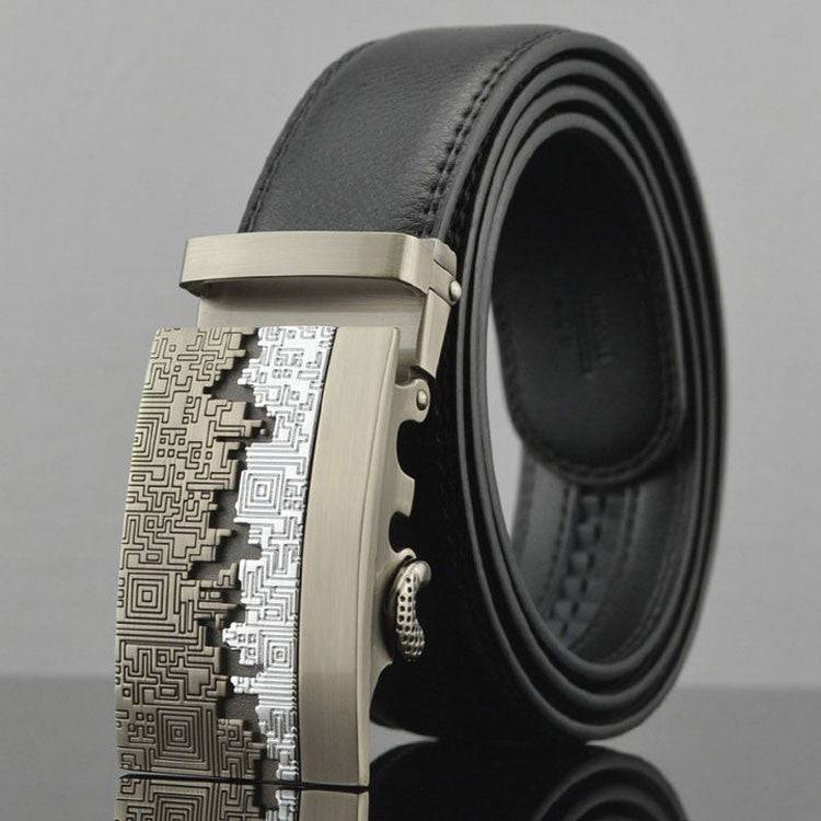Leather Automatic Buckle Formal Belt - Black