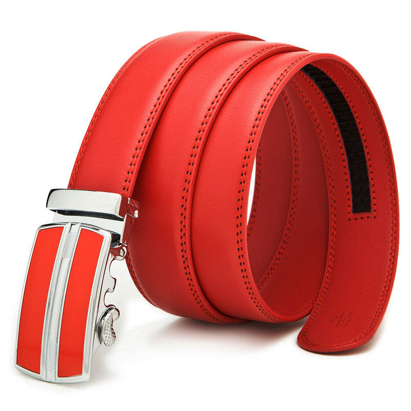Leather Automatic Buckle Formal Belt - Red