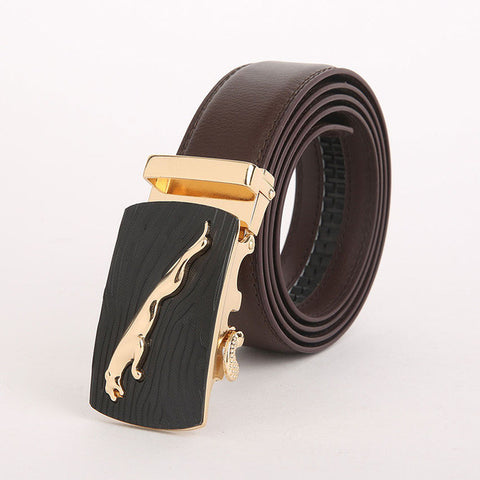 Genuine Leather Automatic Buckle Formal Belt - Brown
