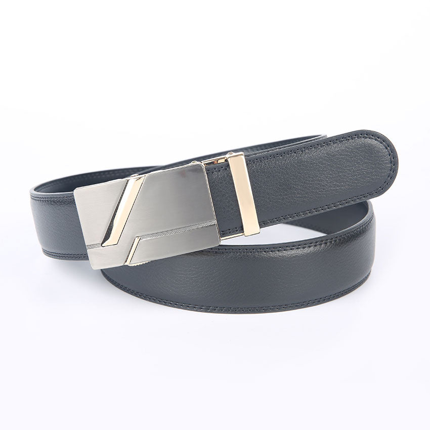 Genuine Leather Automatic Buckle Formal Belt - Black