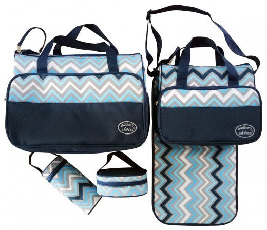 5pcs Baby Changing Diaper Nappy Bag - Blue waves