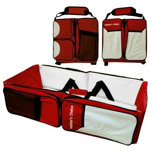 Multifunctional Baby Diaper Bag-Travel Bed - Red