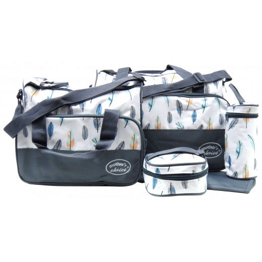 5pcs Baby Changing Diaper Nappy Bag - Grey