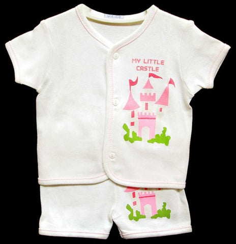 2PC SHORT SLEEVE PAJAMA SET - GIRLS- CASTLE