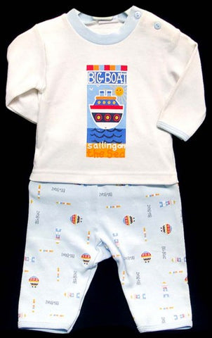 2PC LONG SLEEVE PAJAMA SET - BOYS -BOATS