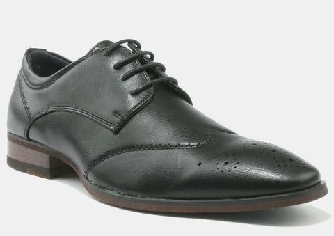 Baldini Formal Lace Up Shoes With Side Gusset And Pin Punch Detail - black