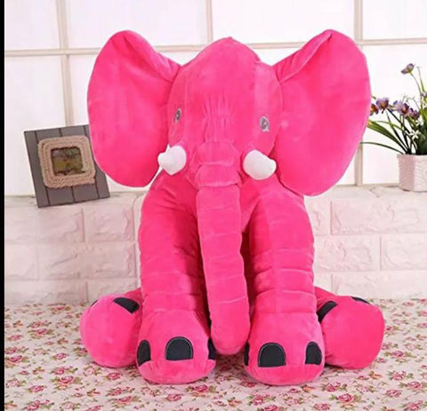 Elephant Soft Plush Stuffed Waist Pillow for Babies - Fuschia Pink