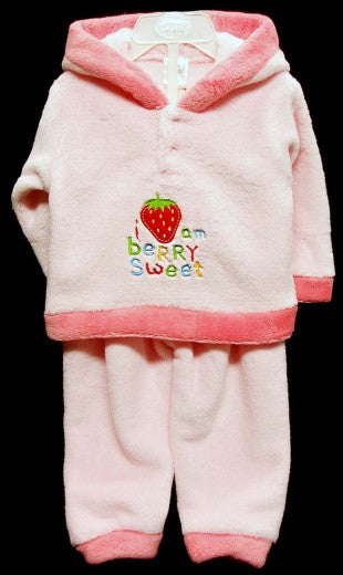 GIRLS CORAL FLEECE TRACKSUIT STRAWBERRY