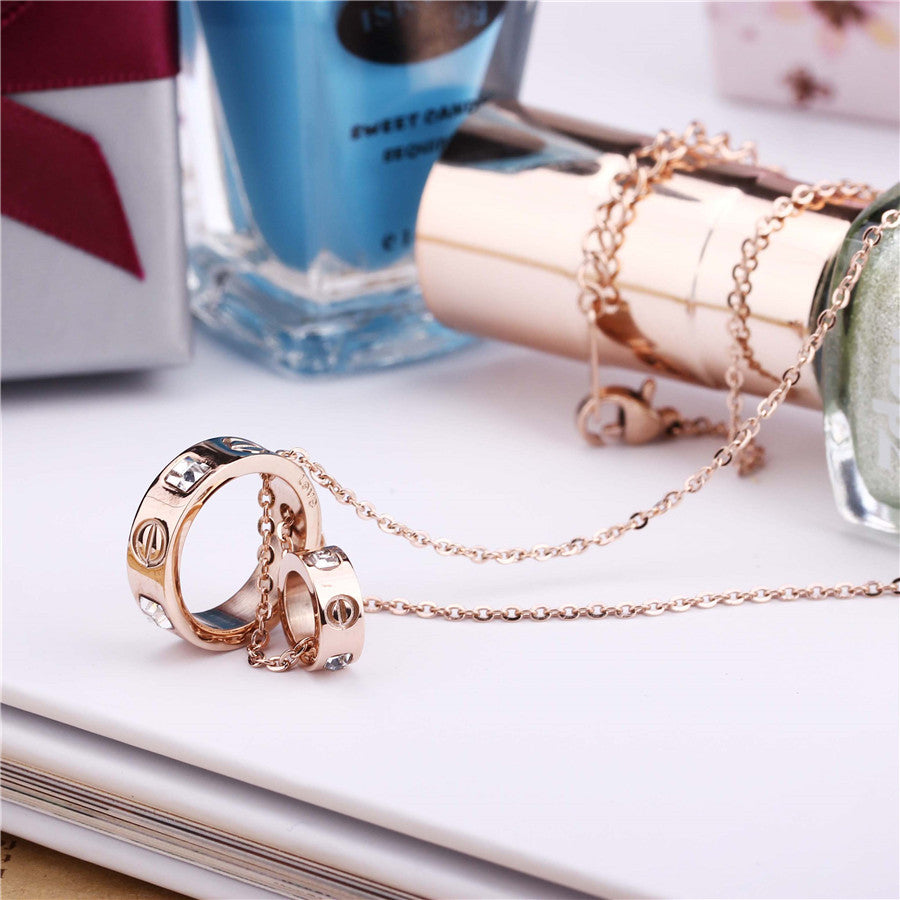 Stainless Steel 18K Gold Plated Pendant/Chain - Rose Gold Plated