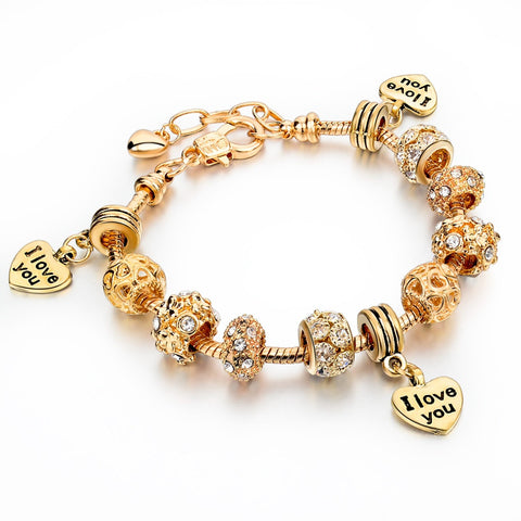 18K Gold Plated Pulsera Charm Bracelet - I Love You Style 7