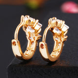 9K Gold Plated Zircon Hoop Earrings