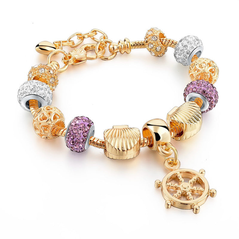 18K Gold Plated Pulsera Charm Bracelet - Anchor