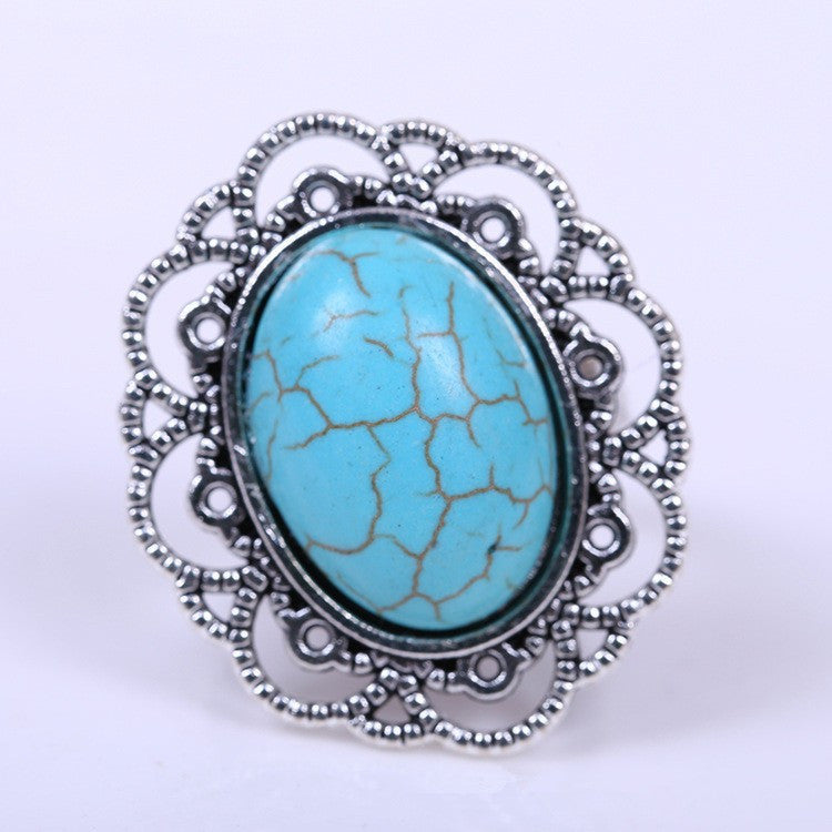 Tibetan Antique Silver Plated Flower Ring