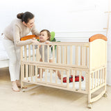 Solid Wood Deluxe Baby Crib Cot with FREE Mattress - Natural - Model 229