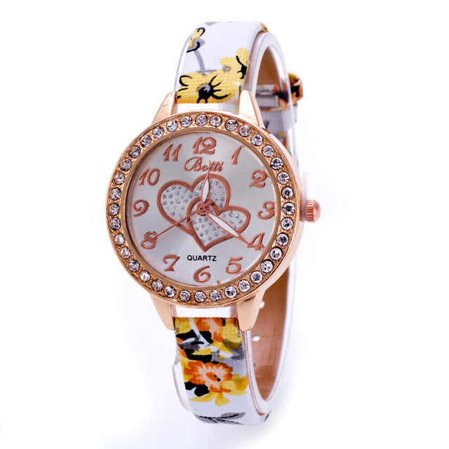 Ladies Analog Slim Band Rhinestone WristWatch - Yellow
