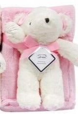 BABY WRAP WITH TEDDY - PINK