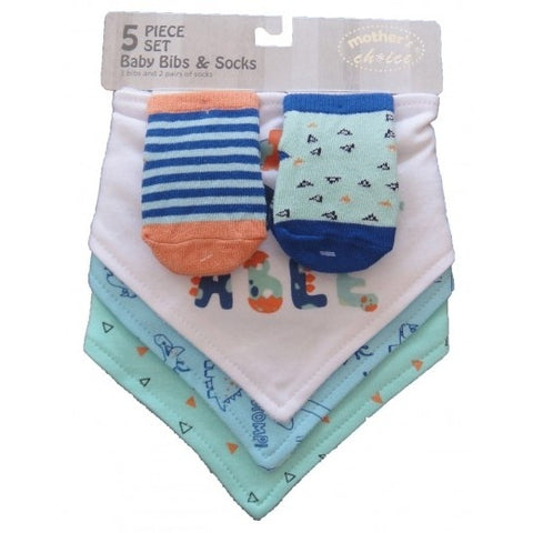 5PC BABY BIB & SOCK SET 'AROARABLE'