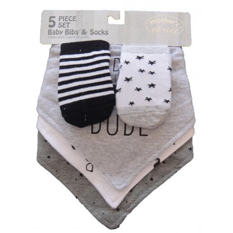 5PC BABY BIB & SOCK SET 'DUDE'