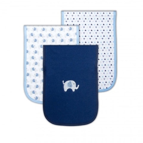 100% COTTON INTERLOCK 3 PACK BURP CLOTHS 'NAVY ELE'