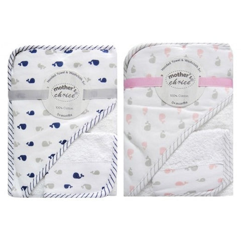 "100% COTTON HOODED TOWEL & FACECLOTH SET ""WHALES"""