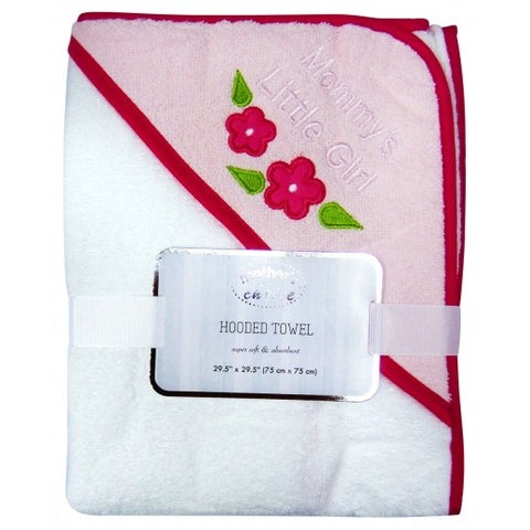 100% COTTON HOODED TOWEL 'FLOWERS' WHT-PINK HOOD
