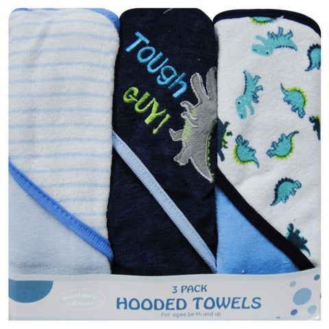 3 PACK HOODED TOWELS - Blue