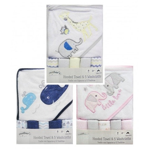 HOODED TOWEL & 5 FACECLOTHS