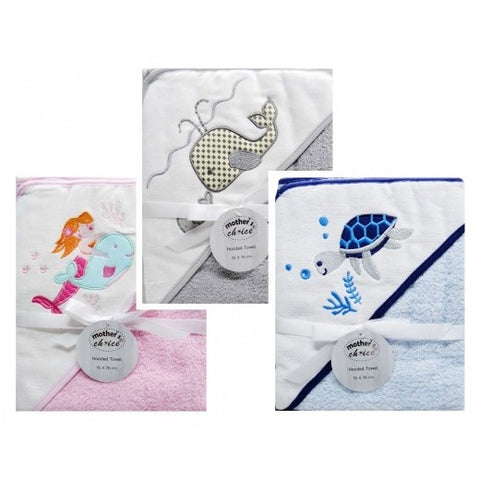"100% COTTON HOODED TOWEL ""WHALE/TURTLE/MERMAID"""
