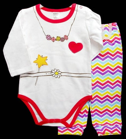 100% INTERLOCK COTTON 2PC LONGSLEEVE SET 'HEART'