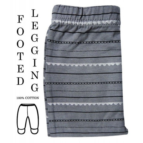 100% COTTON LEGGINGS 'GREY SILVER STRIPE'