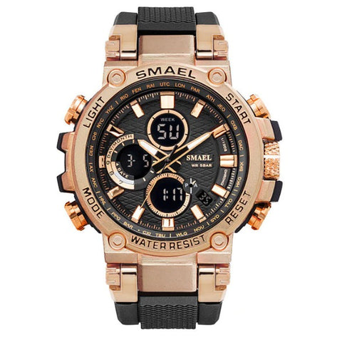 Smael Metal Case Multifunctional Digital Analog Watch - Black Rose Gold