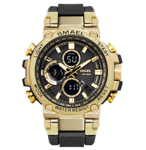 Smael Metal Case Multifunctional Digital Analog Watch - Black Gold