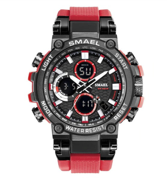 Smael Metal Case Multifunctional Digital Analog Watch - Red