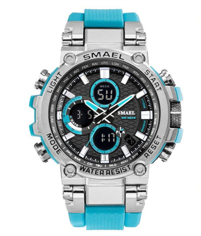 Smael Metal Case Multifunctional Digital Analog Watch - Light Blue