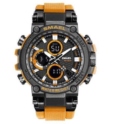 Smael Metal Case Multifunctional Digital Analog Watch - Yellow