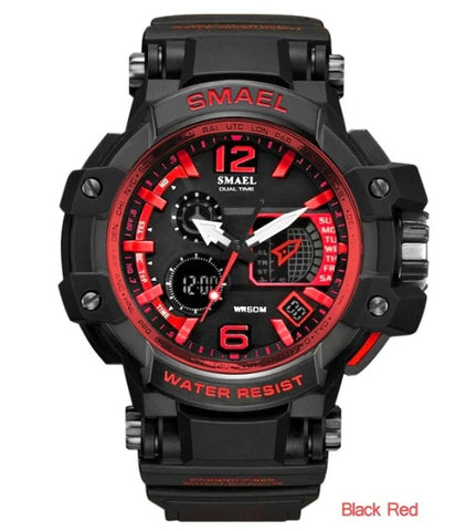 Smael Multifunctional Digital Analog Watch Model 1509 - Black Red