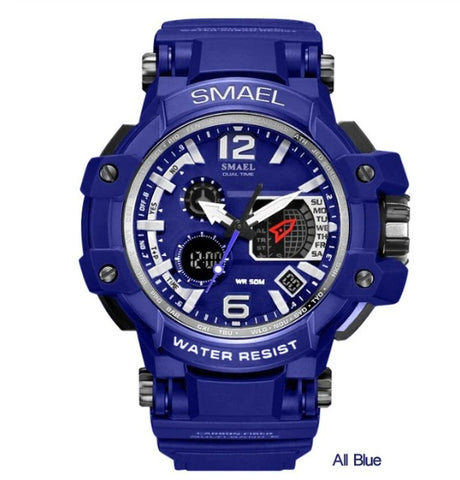 Smael Multifunctional Digital Analog Watch Model 1509 - Full Blue
