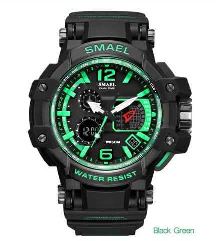 Smael Multifunctional Digital Analog Watch Model 1509 - Black Green
