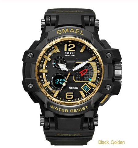 Smael Multifunctional Digital Analog Watch Model 1509 - Black Gold