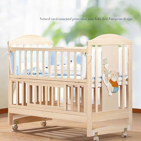 Solid Wood Baby Crib Cot - Model 10 - Natural