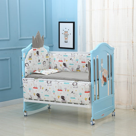 Solid Wood Baby Crib Cot With Bedding- Model 230 - White Blue